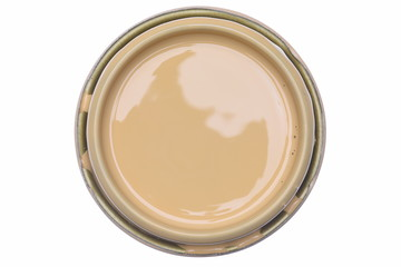 Can Lid with Creme Color Paint Isolated on White Background, Top View