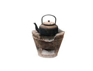 Old black kettle with black soot