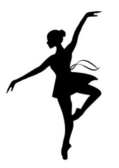Silhouette of a dancing ballerina on a white background , sketch , vector. Ballet, dance.