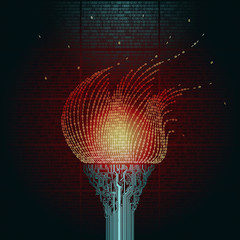 A burning torch, consists of  printed circuit boards, the flame from the binary code. Artifact from the abstract of cyberspace