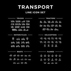 Set line icons of transport