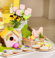 Served easter table in light dining room