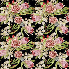 Watercolor seamless floral pattern on a black background