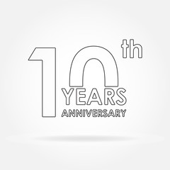 10 years anniversary sign or emblem template for celebration and