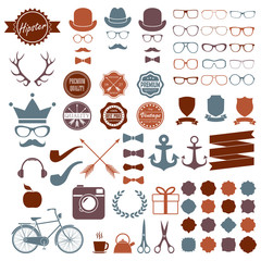 Hipster icons set. Vintage and hipster style signs collection. Retro design infographic elements: sunglasses, frames, labels, mustaches, arrows, ribbons. Colorful vector illustration.