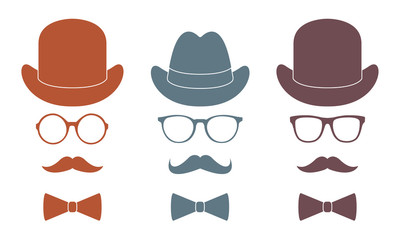 Old fashioned gentleman accessories icons set: hat, glasses, mustache and bow-tie. Retro hipster style. Colorful vector illustration.