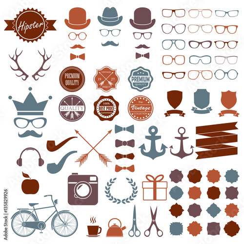 1f7593e4cf0 Hipster icons set. Vintage and hipster style signs collection. Retro design  infographic elements  sunglasses
