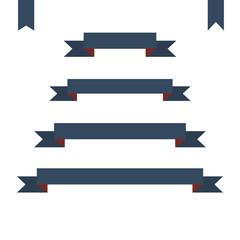 blue flat ribbon banners set. Design retro vector illustration