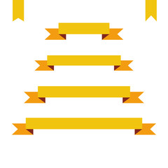 yellow flat ribbon banners set. Design retro vector illustration