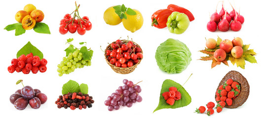 Set of fruits, vegetables and berries (plum, apricot, grapes, cherry, cabbage,peppers raspberries, apple, radish and mulberry) with fresh leaves isolated on white background.