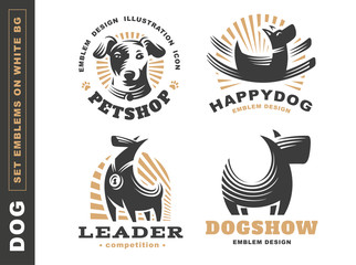 Set logo illustration dog, pet emblem design on white background