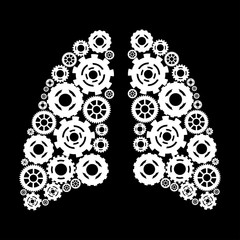 Abstract human lung. Vektronaya illustration. Human lungs with gears.