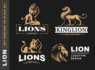 Lion logo set - vector illustration, emblem design on black background