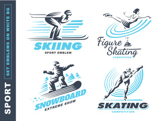 Winter sport logo set - vector illustration, emblem design on white background