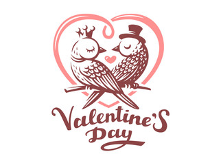 Happy Valentine Day Lettering with birds logo, vector illustration, emblem design on white background