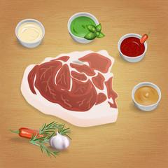 Pork with tasty sauces