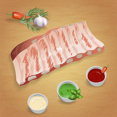 Pork ribs with tasty sauces and spices. Mustard, ketchup, garlic