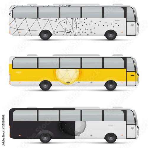mockup of passenger bus design templates for transport branding for advertising and corporate. Black Bedroom Furniture Sets. Home Design Ideas