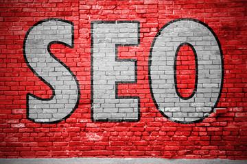 search engine optimization (SEO) Graffiti Ziegelsteinmauer