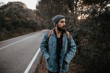 A tourist on a road
