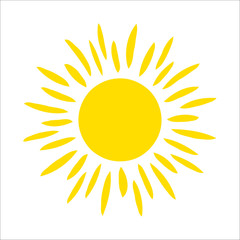 Yellow sun icon isolated on white background. Flat sunlight, sign. Trendy vector summer symbol for website design, web button, mobile app.