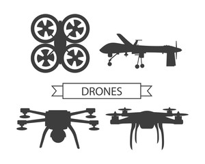 Set Drone Icons Isolated Unmanned Aerial Vehicle