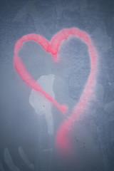 love on grey wall graffiti