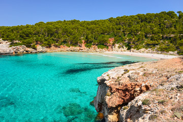 Fototapete - View of beautiful beach with crystal clear turquoise sea water, Menorca island, Spain