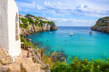 View of beautiful sea bay Cala en Porter, Menorca island, Spain Wall mural