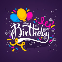 glossy and shine birthday card vector template,with balloon imag