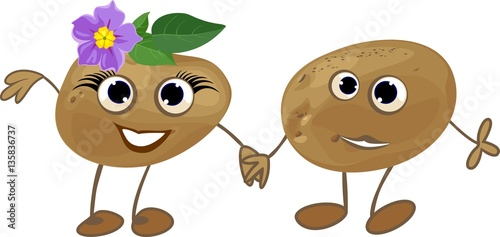 couple of funny potatoes personification of the gender symbols