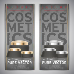Set of dark Luxury cosmetic packaging collection flyer