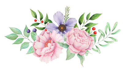 Hand painted watercolor charming combination of Flowers and Leaves
