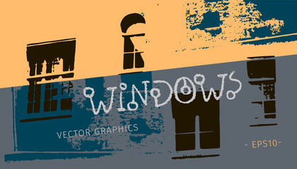 Vector urban image with bright spots and lighting in windows. Grunge vector background. Black windows and graphics of buildings with texture.