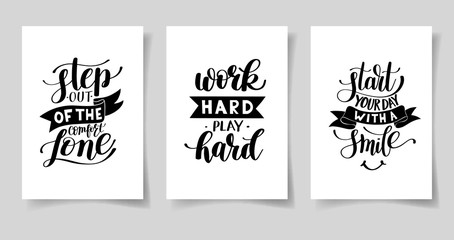 set of three hand written lettering positive inspirational quote Wall mural