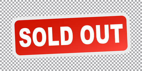 Sold out. Red flat vector illustration
