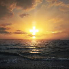 Fototapete - Cross shaped sunrise