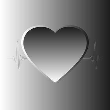 Heart on a background of the electrocardiogram, vector illustration, eps10