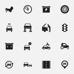 Set Of 16 Editable Vehicle Icons. Includes Symbols Such As Automobile, Treadle, Vehicle Car And More. Can Be Used For Web, Mobile, UI And Infographic Design.