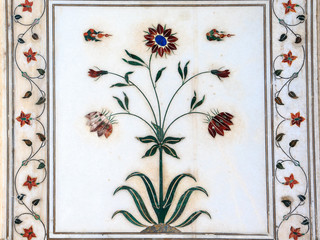 background of marble decoration of Humayun Tomb in New Delhi.