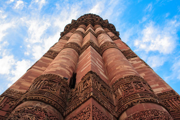 Minaret of Qutb Minar looking at the sky. New Delhi.