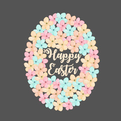 Illustration of Easter egg from tender spring pastel flowers, hand drawn isolated on a dark background