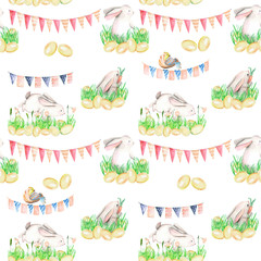Seamless pattern with watercolor Easter rabbits in grass, eggs and garlands with flags, hand drawn on a white background