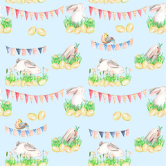 Seamless pattern with watercolor Easter rabbits in grass, eggs and garlands with flags, hand drawn on a blue background