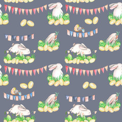 Seamless pattern with watercolor Easter rabbits in grass, eggs and garlands with flags, hand drawn on a dark blue background