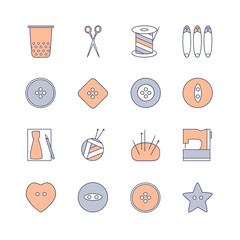 Sewing and knitting icons set. Skein of yarn and knitting needles, spool of thread, scissors, thimble, sewing buttons, needle case, pattern, safety pins and sewing machine. Vector flat illustration