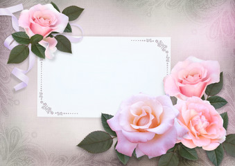 Greeting card with pink roses and card for text on a romantic vintage background