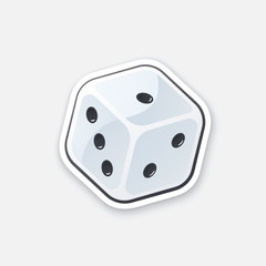 Vector illustration. One white dice. Gambling symbol. Cartoon sticker in comics style with contour. Decoration for greeting cards, posters, patches, prints for clothes, emblems