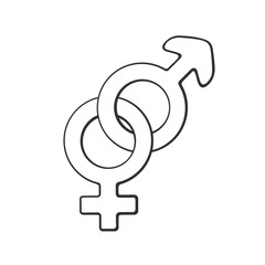 Vector illustration. Hand drawn doodle with heterosexual gender symbol. Gender pictogram. Cartoon sketch. Decoration for greeting cards, posters, emblems