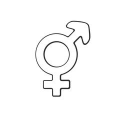 Vector illustration. Hand drawn doodle with transgender or hermaphrodite symbol. Gender pictogram. Cartoon sketch. Decoration for greeting cards, posters, emblems